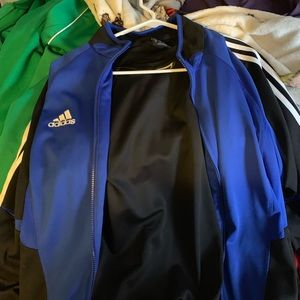 blue & black adidas zip up